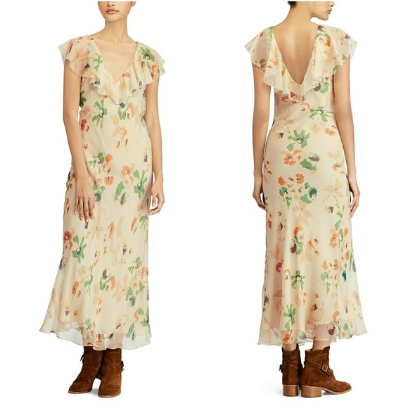 Nwt Lauren NewRalph Floral Dress V Neck 100Silk QBrdtsxhC